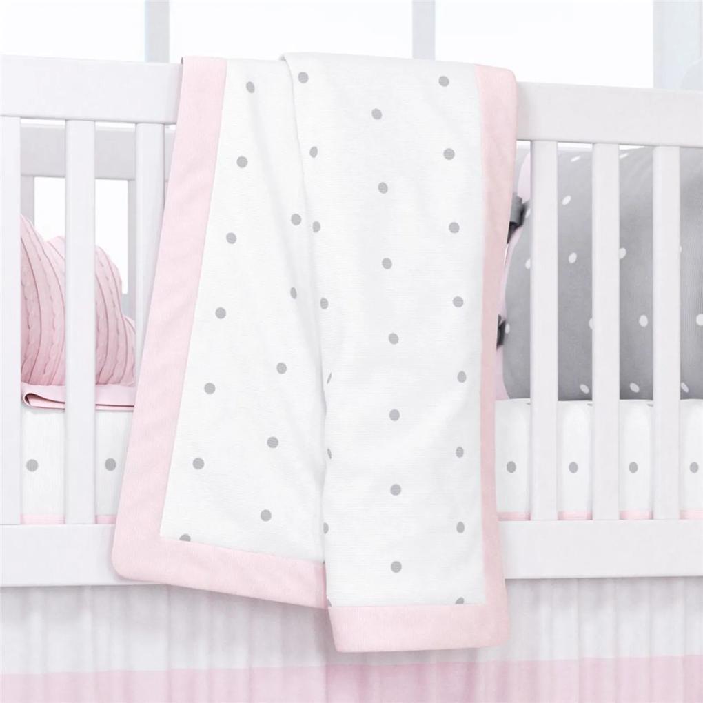 Manta Bebê Menina Rosa Tricot Poá 1,45m GrÁo de Gente Rosa