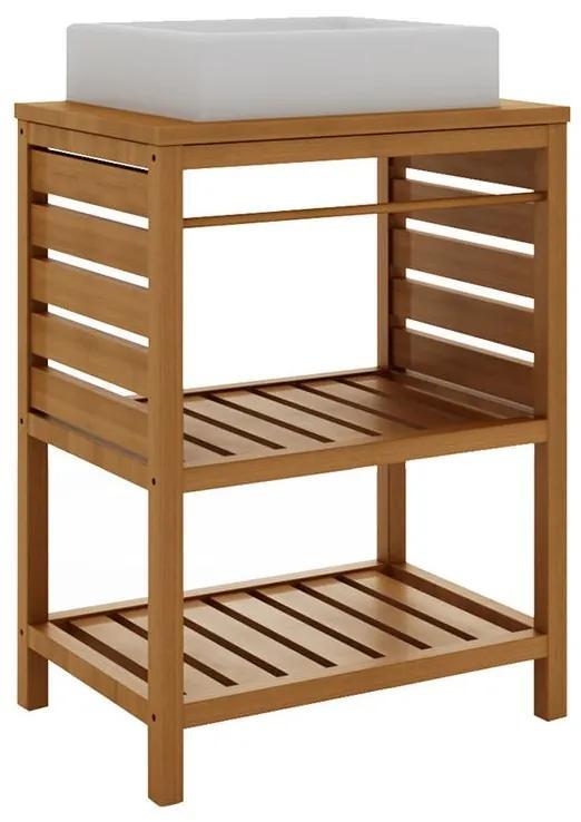 Balcão para Banheiro Aquiles com Prateleira Jatobá (Cuba não acompanha o produto) - Wood Prime MR 34629
