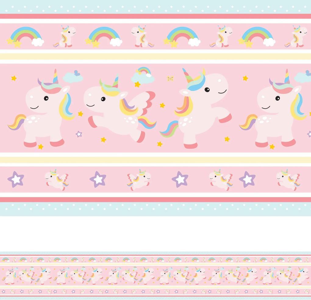Faixa Decorativa Adesiva Infantil Unicornio 10mx10cm