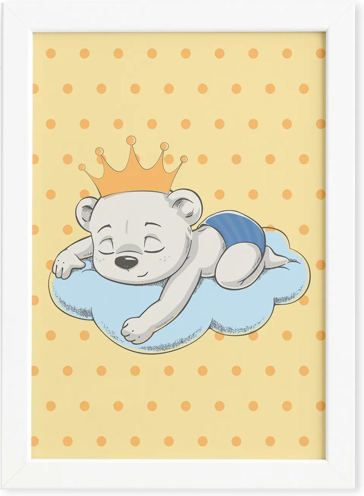 Quadro Ursinho Príncipe na Nuvem Moldura Branca 22x32cm