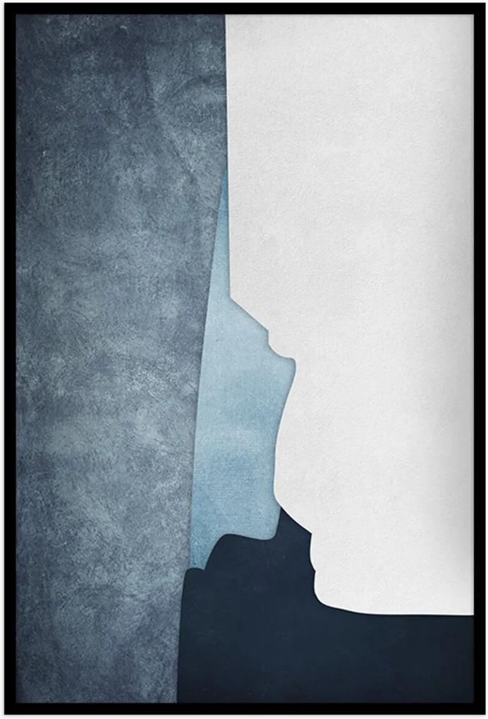 Quadro 60x40cm Abstrato Geométrico Oriental Ireki Moldura Preta sem Vidro