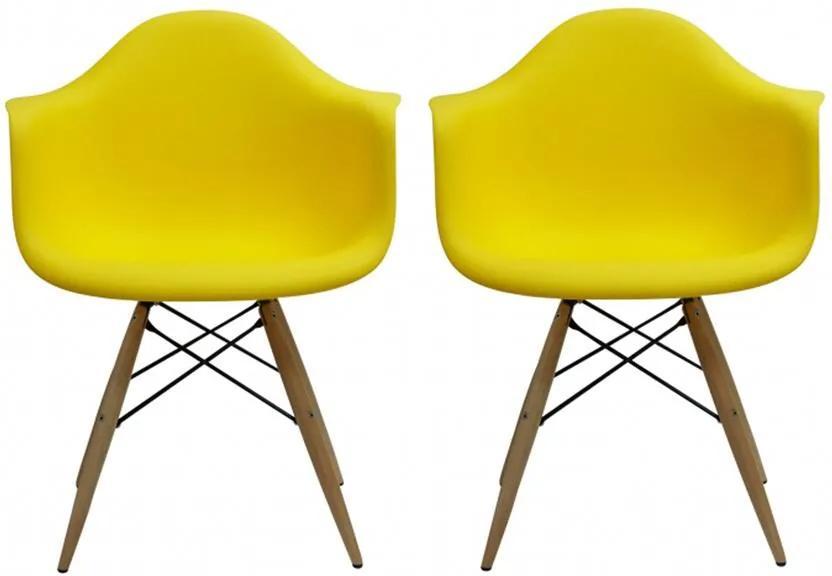 Conjunto 2 Cadeiras Eiffel Eames DAW Amarela