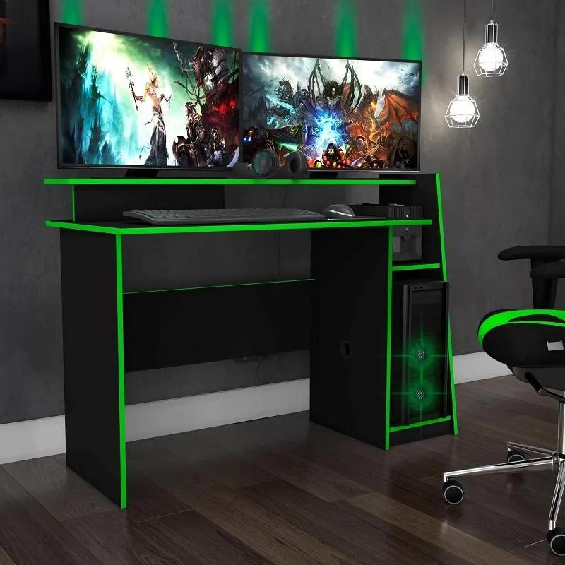 Mesa Gamer Escrivaninha Evolution Preto Verde