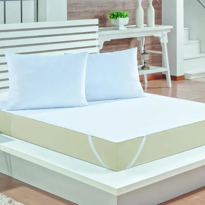 Kit 3 Peças Fronha e Capa Protetor de Colchão para Cama Casal King Impermeável Malha Branco