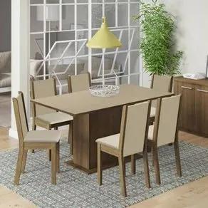 Conjunto Sala de Jantar Madesa Ohana Mesa Tampo de Madeira com 6 Cadeiras Rustic/Crema/Pérola Cor:Rustic/Crema/Pérola