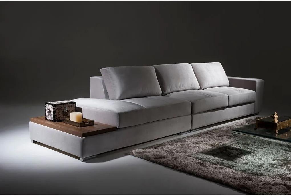 Sofá 3 Lugares + Mesa Lateral - Concept Linho Cinza