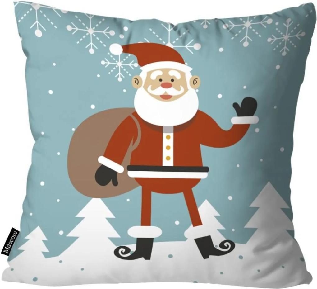 Capa para Almofada Mdecor De Natal Papai Azul