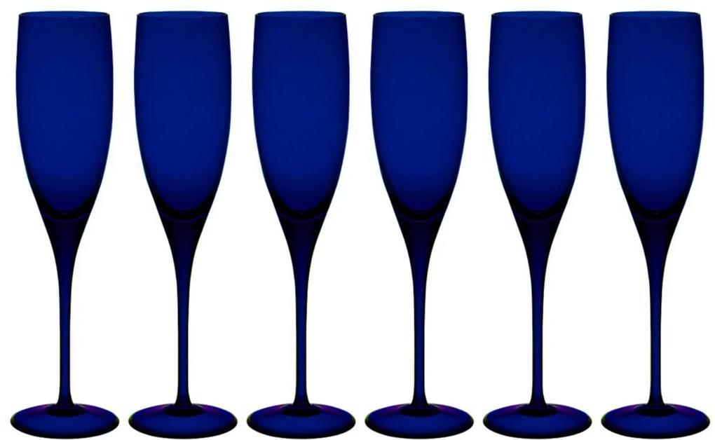Jogo de 6 Taças Coloridas De Cristal Espumante 240ml Azul Intenso