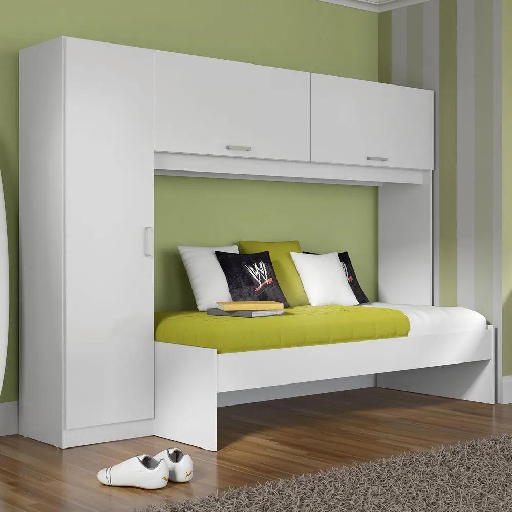 Guarda-roupa Infantil 3 Portas Com Cama 1900 Branco Premium - Multimóveis