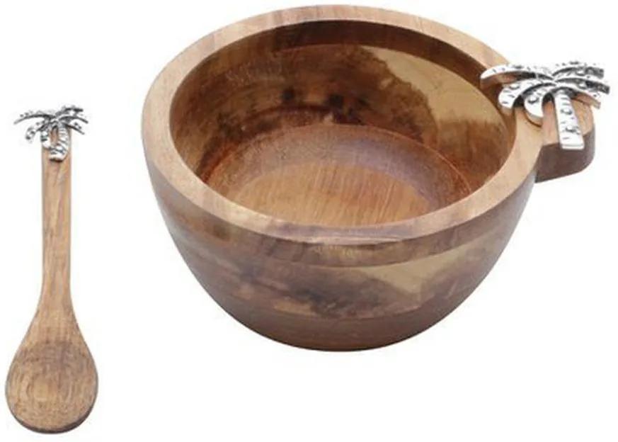 Jogo Bowl Madeira E Colher 2 Peças Palmeira 10x5cm 26002 Bon Gourmet