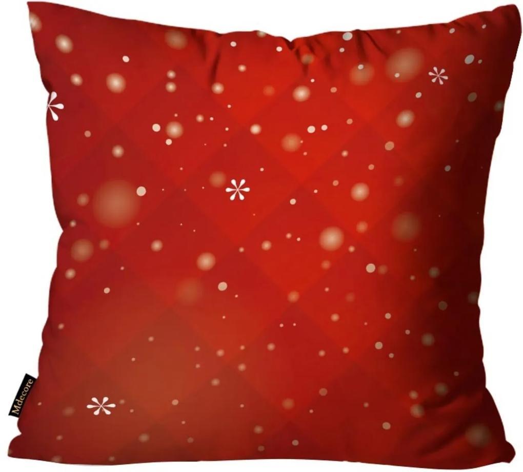 Capas para Almofada Premium Cetim Mdecore Natal Flocos de Neve Vermelha 45x45cm