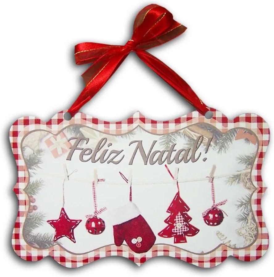 Plaquinha Móbile Feliz Natal em Xadrez Vermelho - 26x16 cm