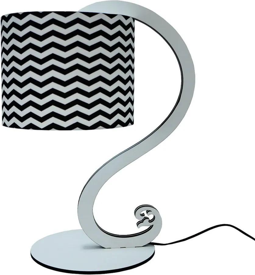 Luminária de Mesa Abajur Curves Crie Casa Branco e Preto