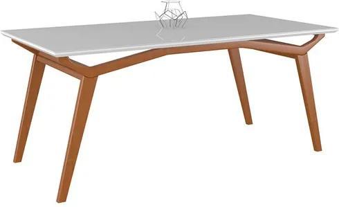 Mesa de Jantar Lille Amêndoa 160cm C/Tampo de Vidro Branco