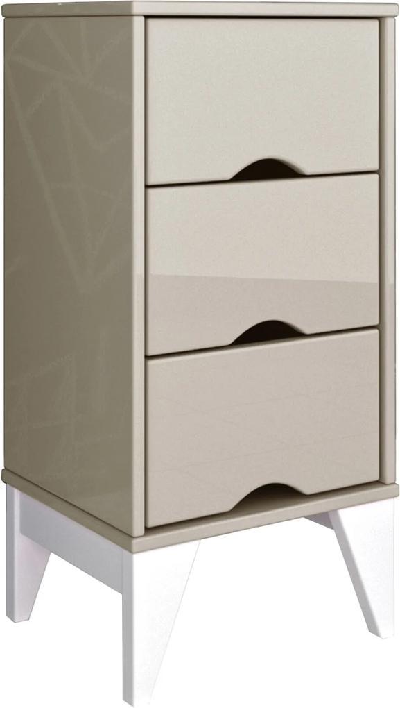 Mesa de Cabeceira 3 Gavetas Twister Off White/Branco TCIL Móveis