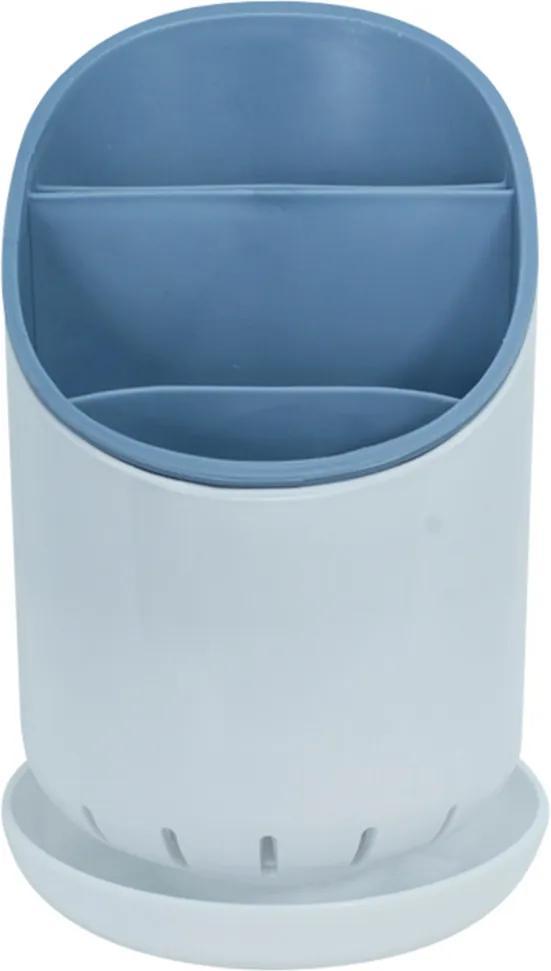Escorredor E Organizador De Talheres De Plástico Azul - Oikos