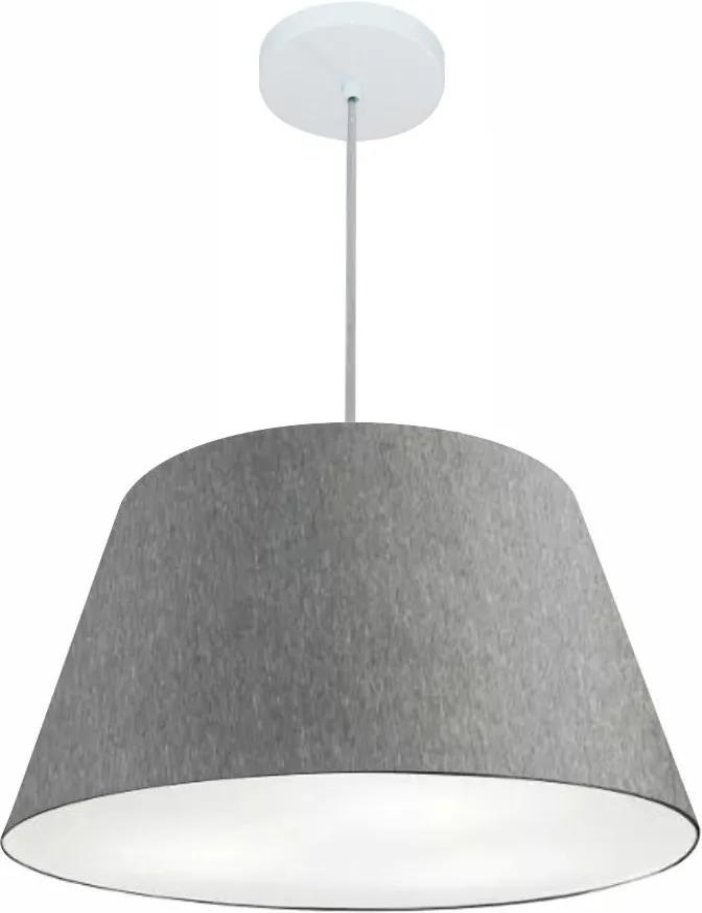 Lustre Pendente Cone Md-4248 Cúpula em Tecido 30/50x35cm Rustico Cinza - Bivolt