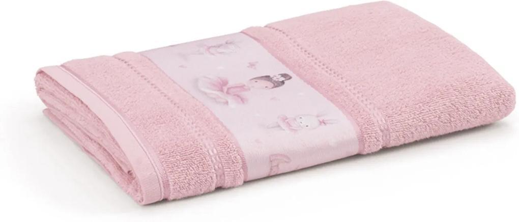 Toalha de Rosto Infantil Menina Bailarina Rosa Karsten 49x70cm