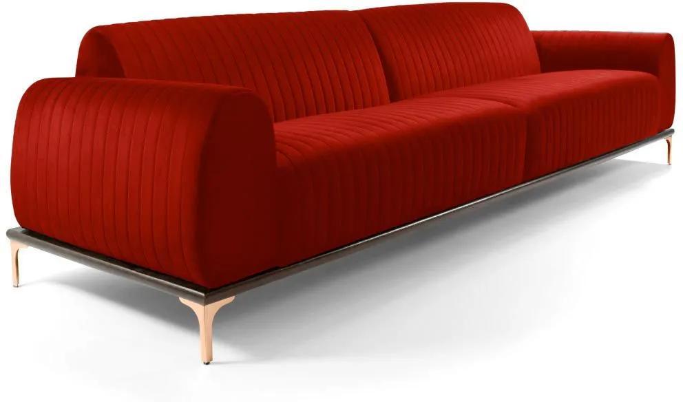 Sofá 3 Lugares Sala de Estar Base de Madeira Euro 230 cm Veludo Vermelho - Gran Belo