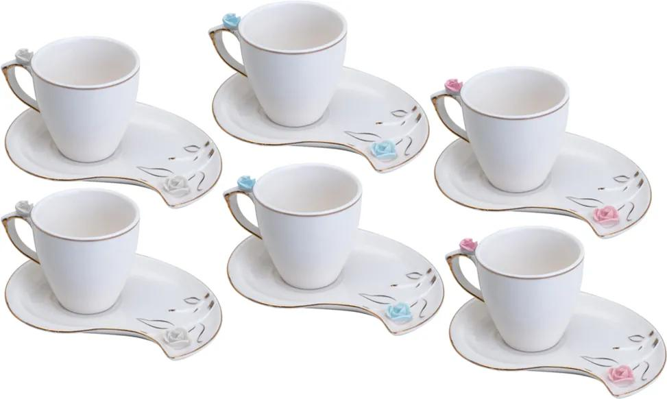 Conjunto de 6 Xícaras de Porcelana Wolff Para Café Flower 90ml – Design Plate Colorido