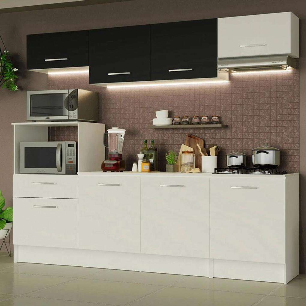 Cozinha Completa Madesa Onix 240002 com Armário e Balcão - Branco/Preto 0973 Branco