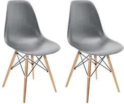 Kit 2 Cadeiras Eiffel Charles Eames Cinza F01 Base Madeira - Mpozenato