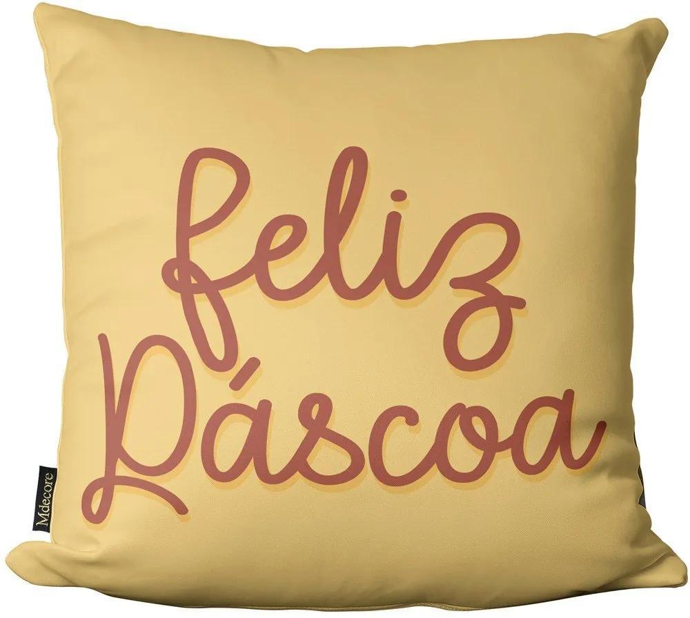 Almofada de Páscoa Feliz Páscoa Amarelo 45x4545x45cm