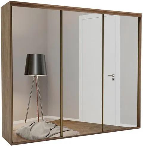 Roupeiro Calisto Ébano de 3 Portas C/Espelho Inteiriço - 227 cm