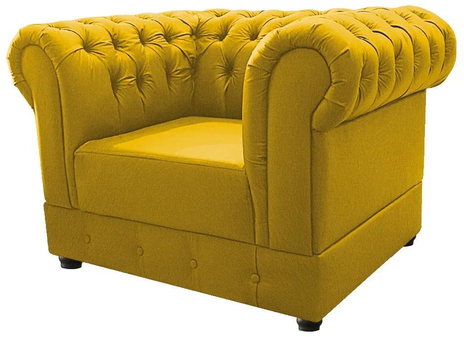 Poltrona Decorativa Chesterfield Ana Suede Amarelo - ADJ Decor
