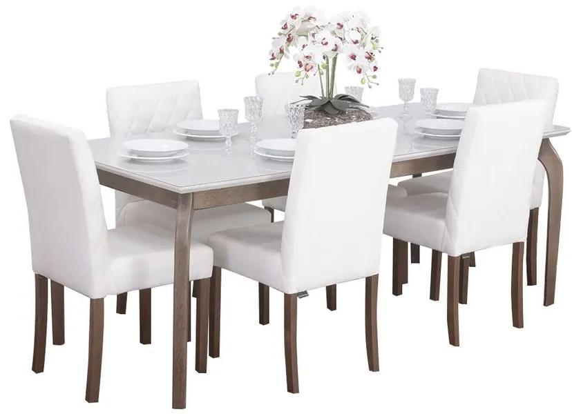 Conjunto Sala de Jantar Mesa Valência com 6 Cadeiras Beliz - Wood Prime 44677
