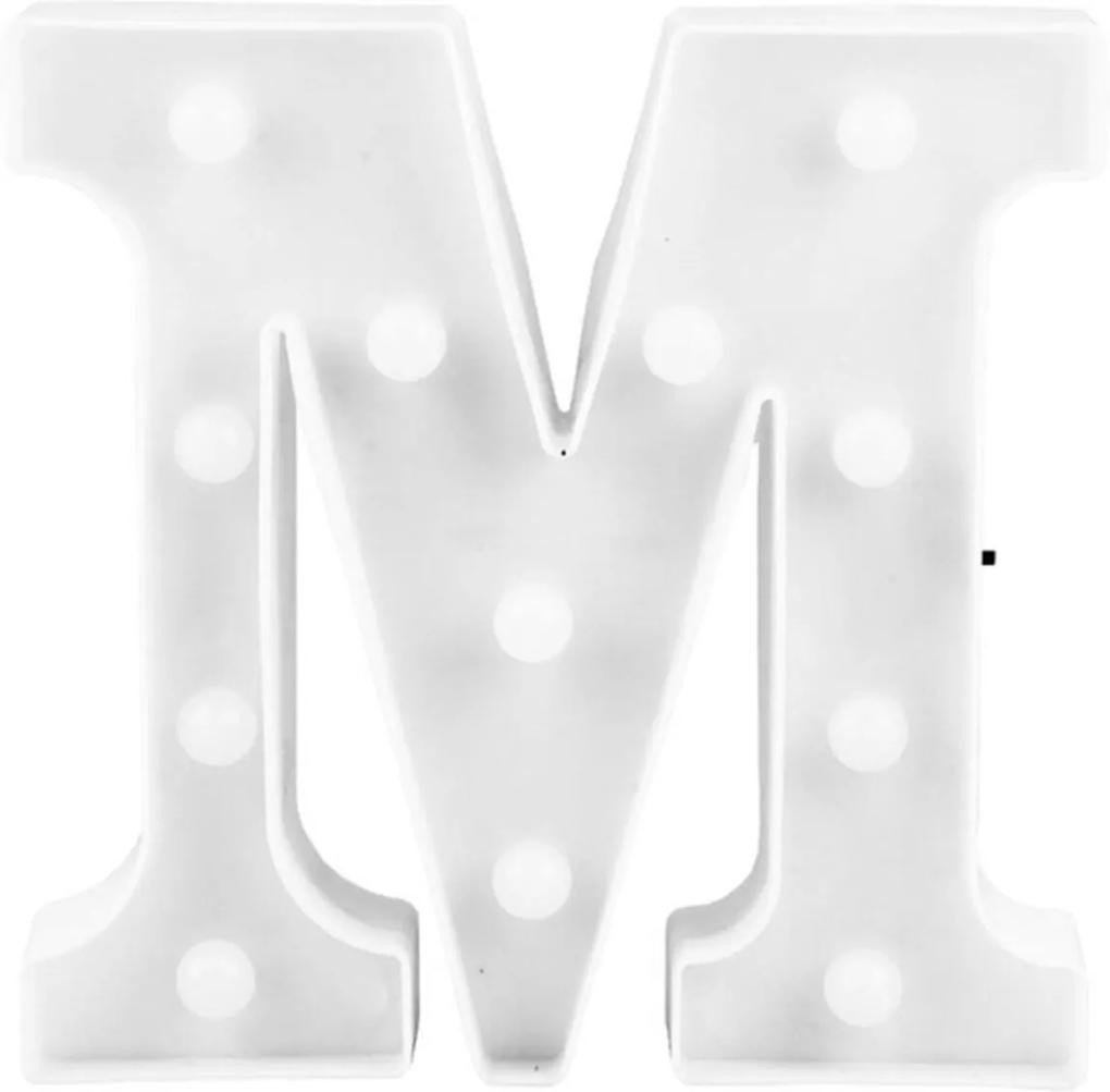 Luminária Adoraria Letra Led M Luminosa Branco