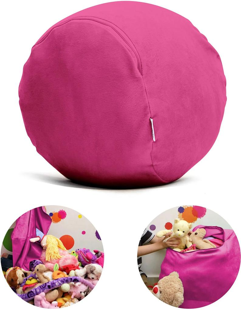 Puff Organizador Infantil para Bichos de Pelúcia Rosa Escuro