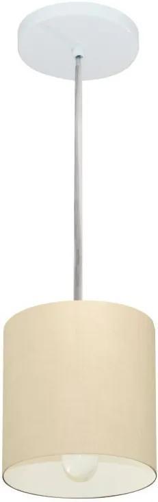 Lustre Pendente Cilíndrico Md-4200 Cúpula em Tecido 14x15cm Algodão Crú - Bivolt