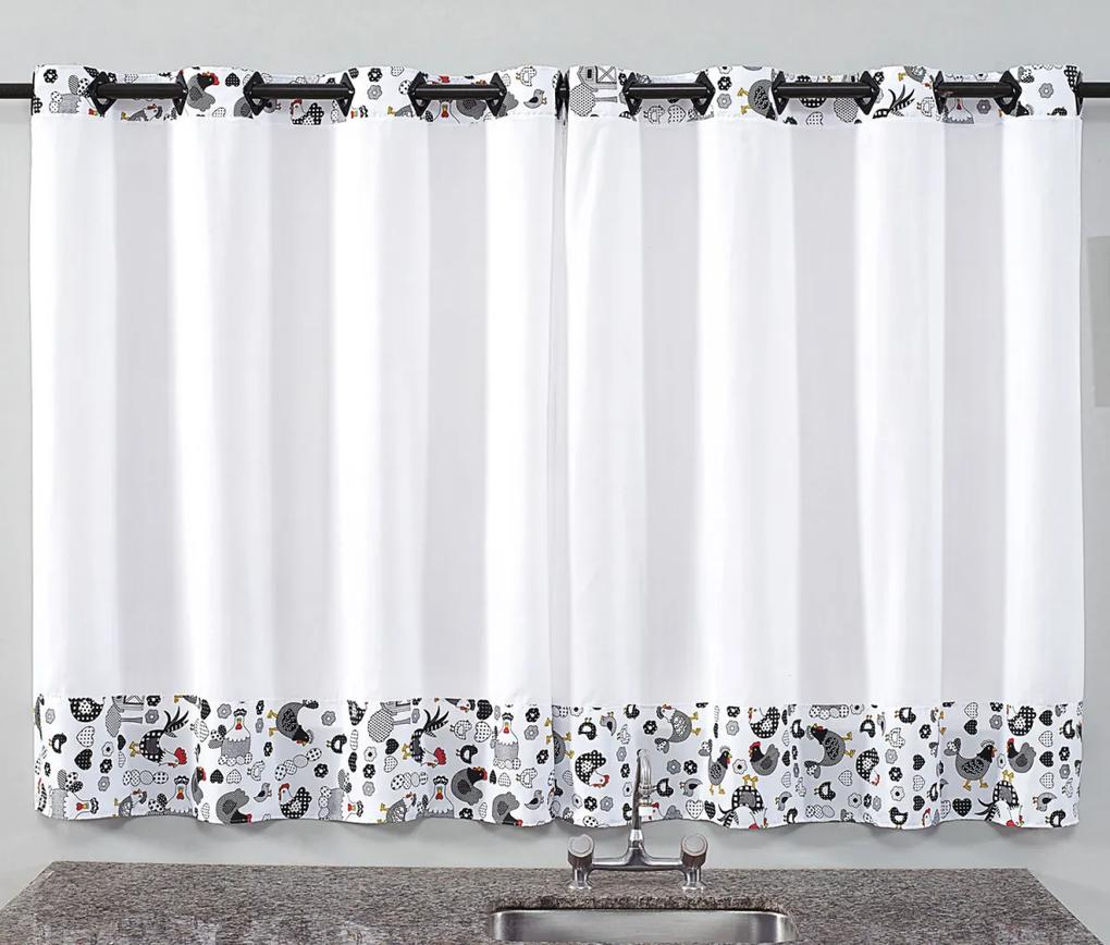 Cortina de Cozinha Prática 2,00m x 1,40m para Varão Simples - Galinha