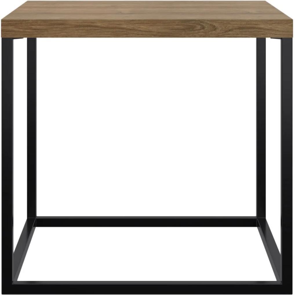 Mesa Quadrada Cube Lateral Vermont/Preto - Industrial - Artesano