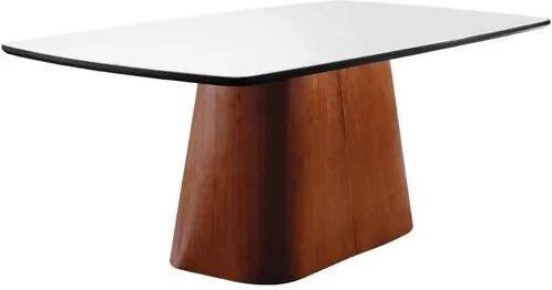 Mesa de Jantar 6 Lugares de Madeira Imbuia/Preto com Tampo de Vidro Branco 2,00m Meydan