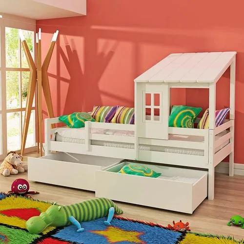 Cama Infantil Prime com Telhadinho II 2 Gavetões e Grade de Proteção - Madeira Maciça - Laca Branco