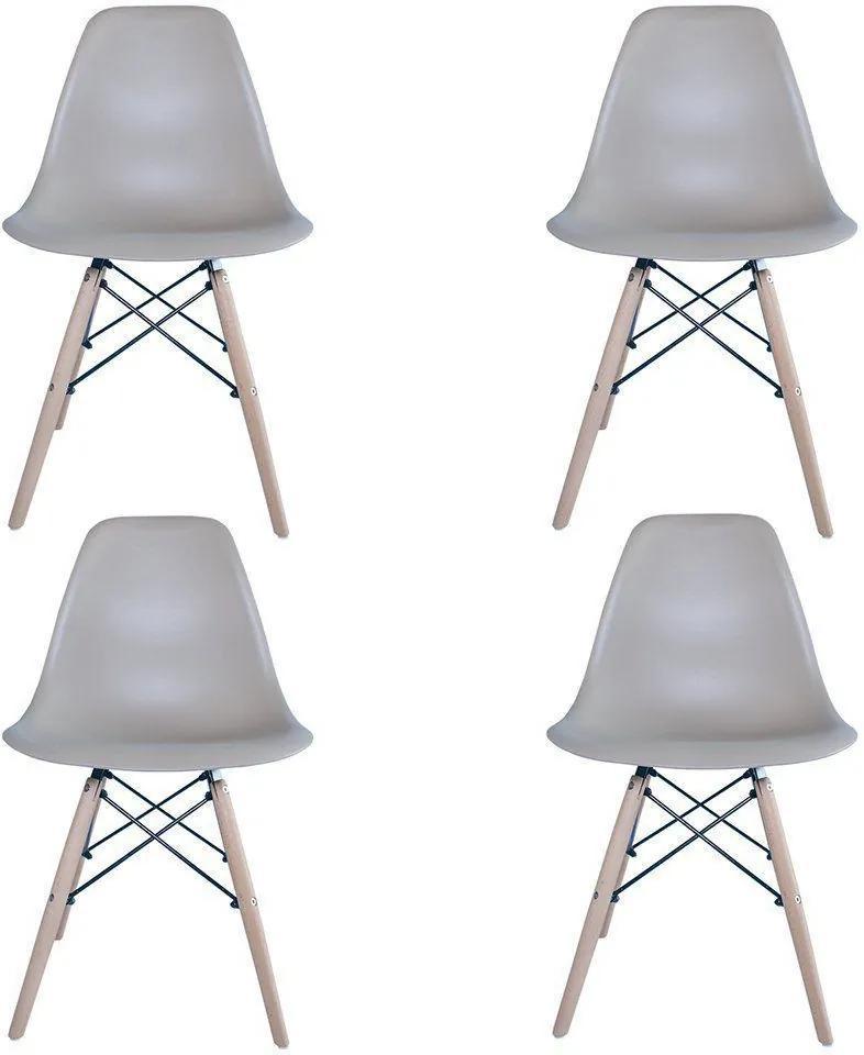 Kit 4 Cadeiras Eiffel Charles Eames em ABS Nude - Facthus