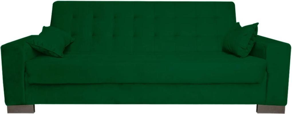 Sofá D'Rossi  Cama 2 Lugares para Sala de Estar Lisboa Suede Verde
