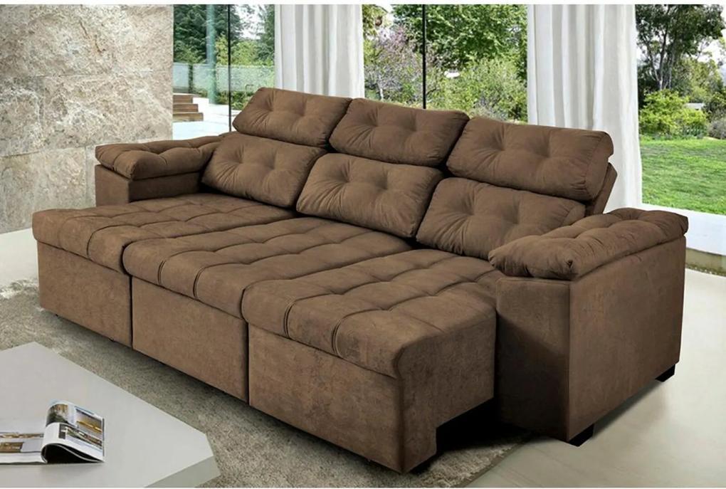 Sofa Itália 2,60 Mts Retrátil e Reclinavel Tecido Suede Café - Cama InBox