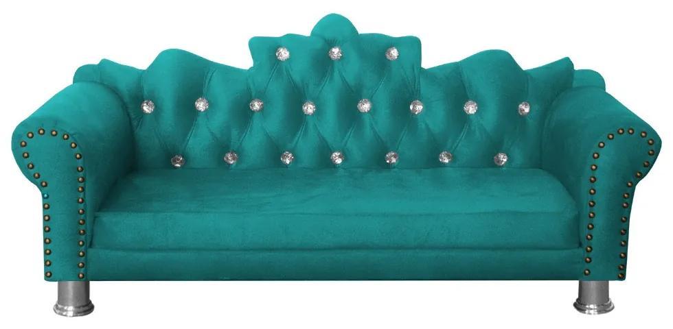 Mini Divã Sofá Realeza Cama Pet para Cães ou Gatos Elegante Suede Azul Tiffany