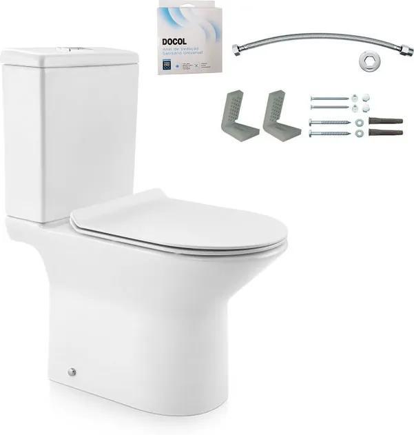 Kit Bacia com Caixa Acoplada e Assento Lift Branco + Conjunto de Fixação Flexível e Anel de Vedação - 968766 - Docol - Docol