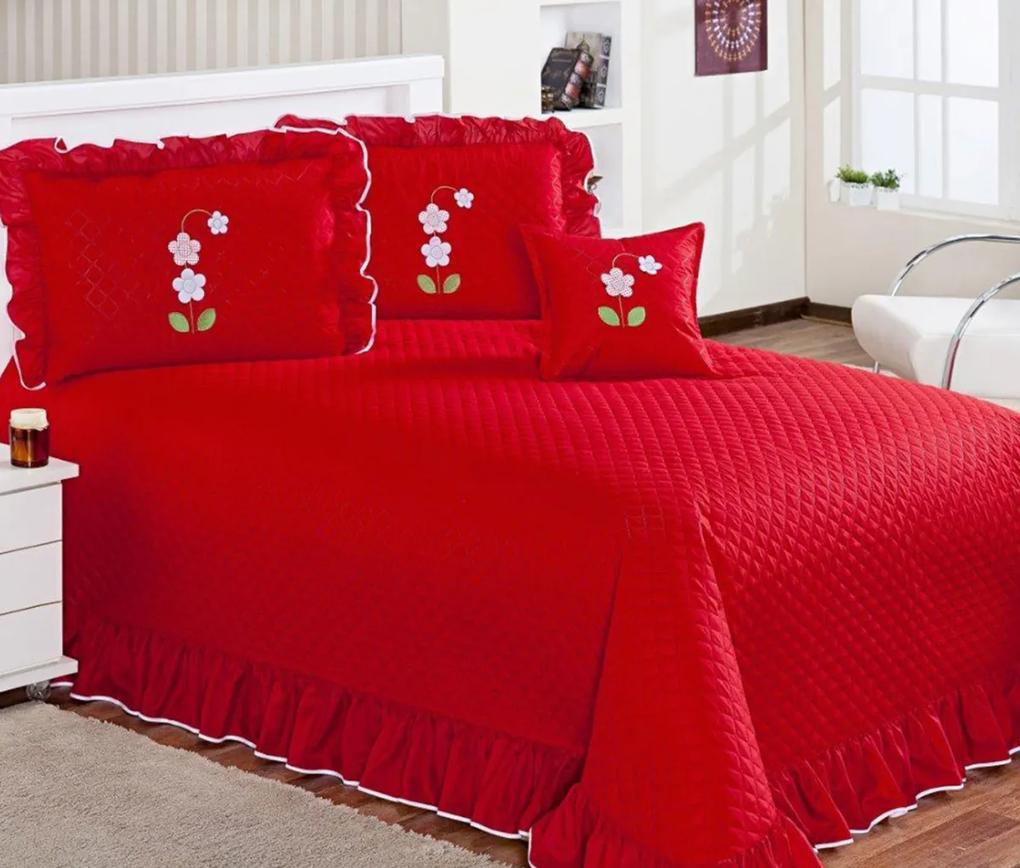 Cobre Leito Queen Eva com Almofada Decorativa Kit 05 Peças - Vermelho