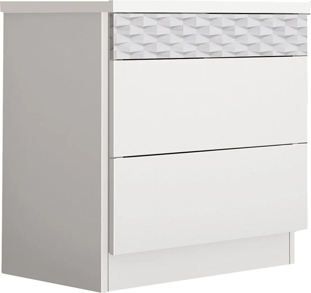 Criado Murano Box 3 Gavetas Branco Móveis Fazzio