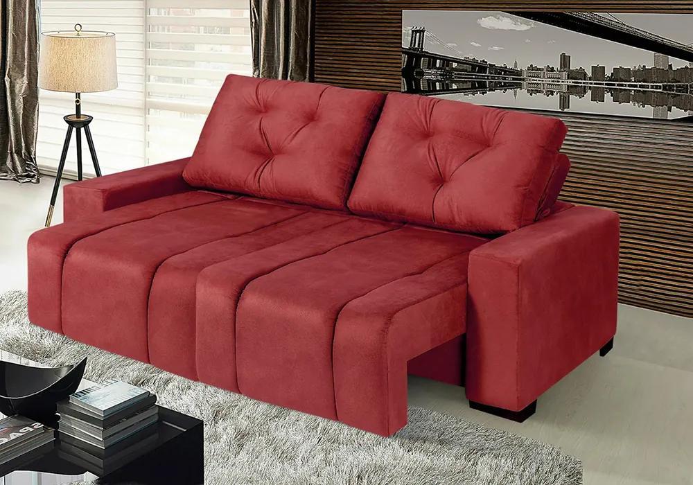 Sofá Roma 2,22 Mts Retrátil E Reclinável Tecido Suede Vermelho - Moveis Marfim
