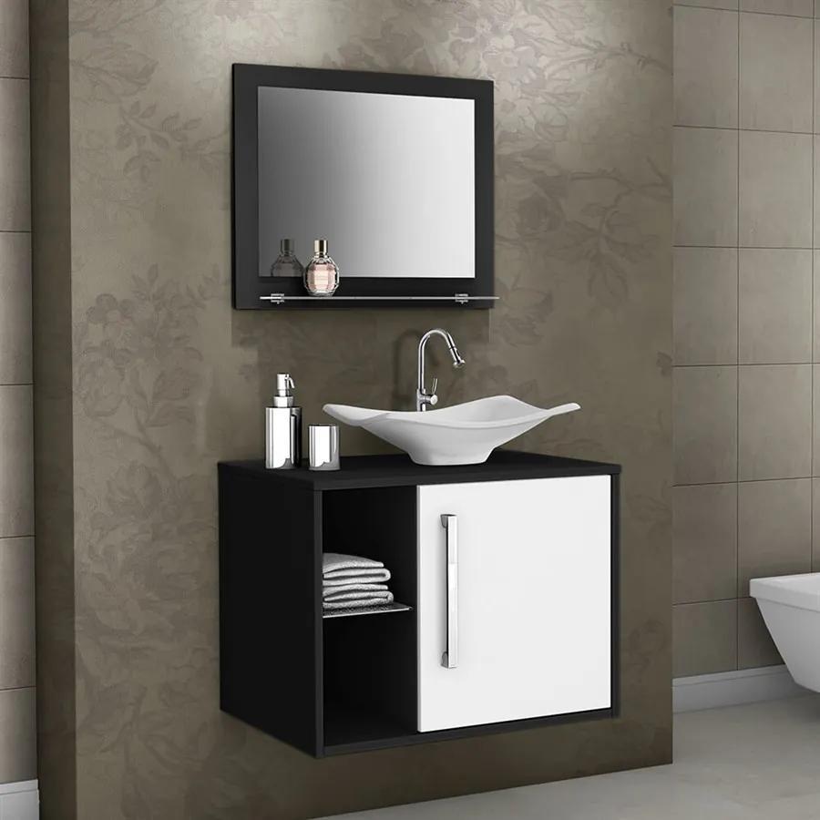 Conjunto Banheiro Zador Suspenso C/ Cuba E Espelho Preto / Branco