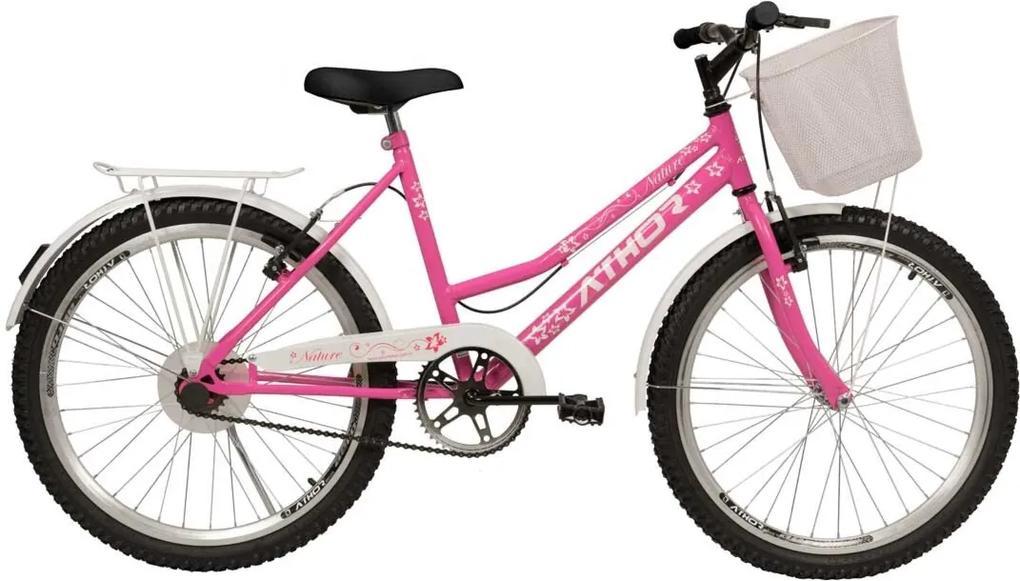 Bicicleta Aro 24 Nature Rosa com cestÁo Athor Bikes