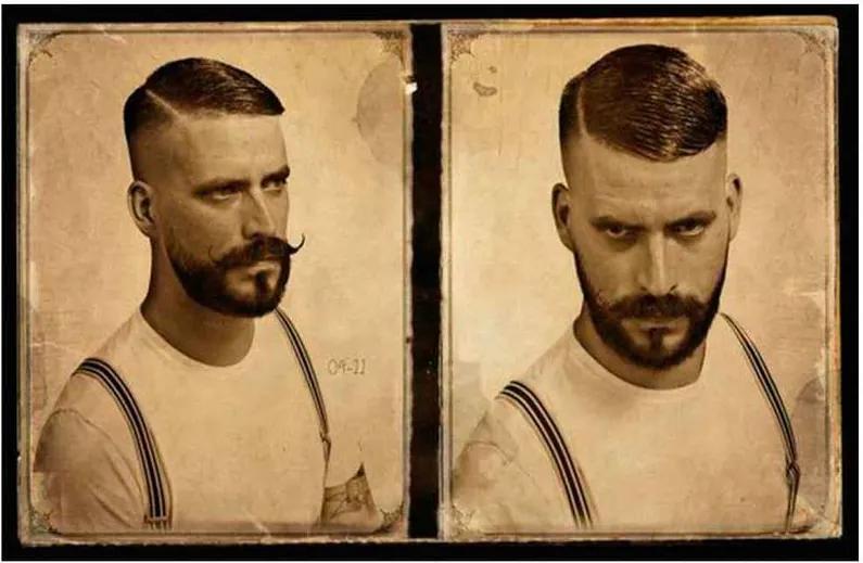 Placa Decorativa Para Barbearias Hair Sytle Cabelo, Barba E Bigode Vintage 2 Ângulos Modelo 3
