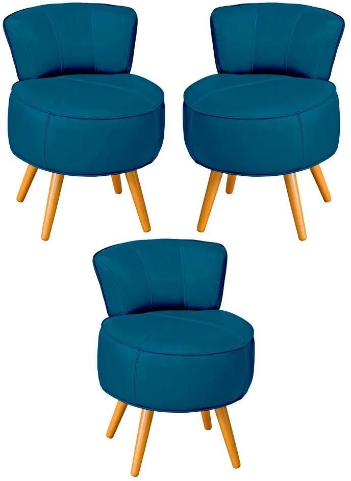 Kit 03 Poltronas Decorativas Sala de Estar Pés Palito em Madeira Europa Couro Azul - Gran Belo