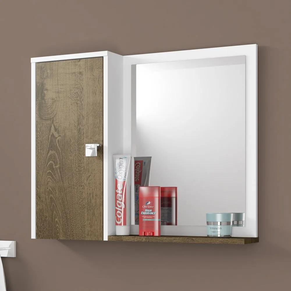 Armário de Banheiro 1 Porta Gênova Branco/Madeira Rústica - Bechara Móveis